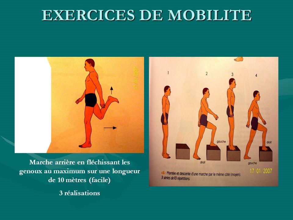 EXERCICES DE MOBILITEMarche arrière en fléchissant les genoux au maximum sur une longueur de 10 mètres (facile)
