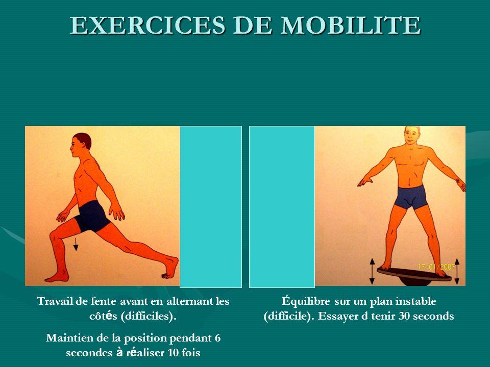 EXERCICES DE MOBILITETravail de fente avant en alternant les côtés (difficiles). Maintien de la position pendant 6 secondes à réaliser 10 fois.