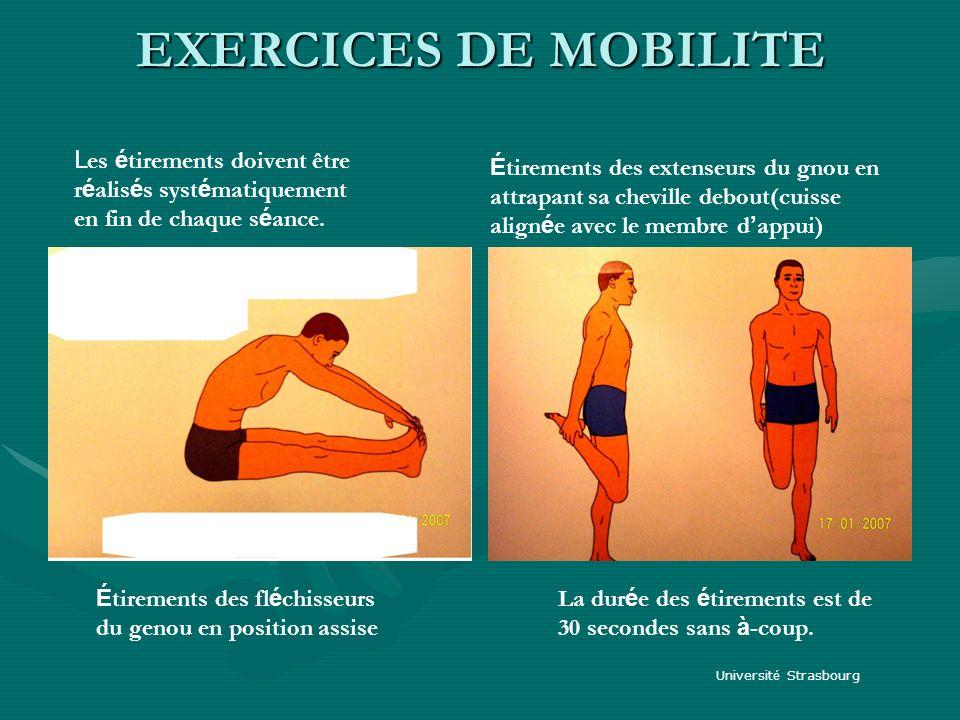 EXERCICES DE MOBILITE Les étirements doivent être réalisés systématiquement en fin de chaque séance.