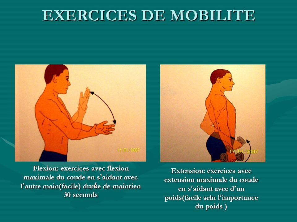 EXERCICES DE MOBILITEFlexion: exercices avec flexion maximale du coude en s'aidant avec l'autre main(facile) durée de maintien 30 seconds.