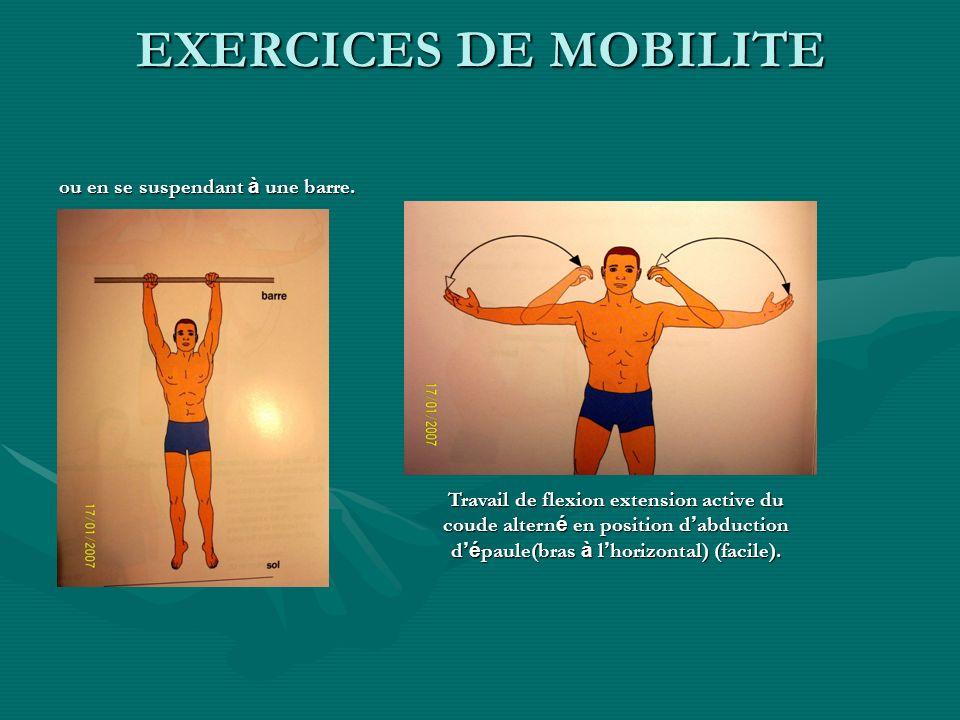 EXERCICES DE MOBILITE ou en se suspendant à une barre.