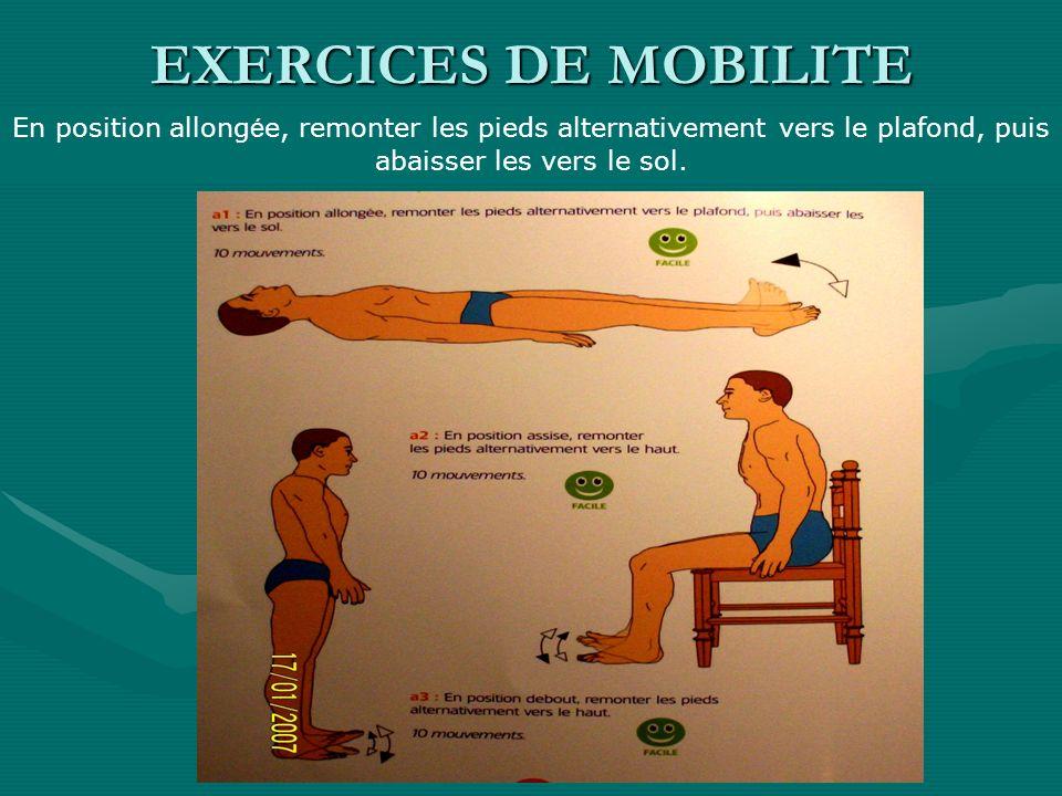 EXERCICES DE MOBILITEEn position allongée, remonter les pieds alternativement vers le plafond, puis abaisser les vers le sol.