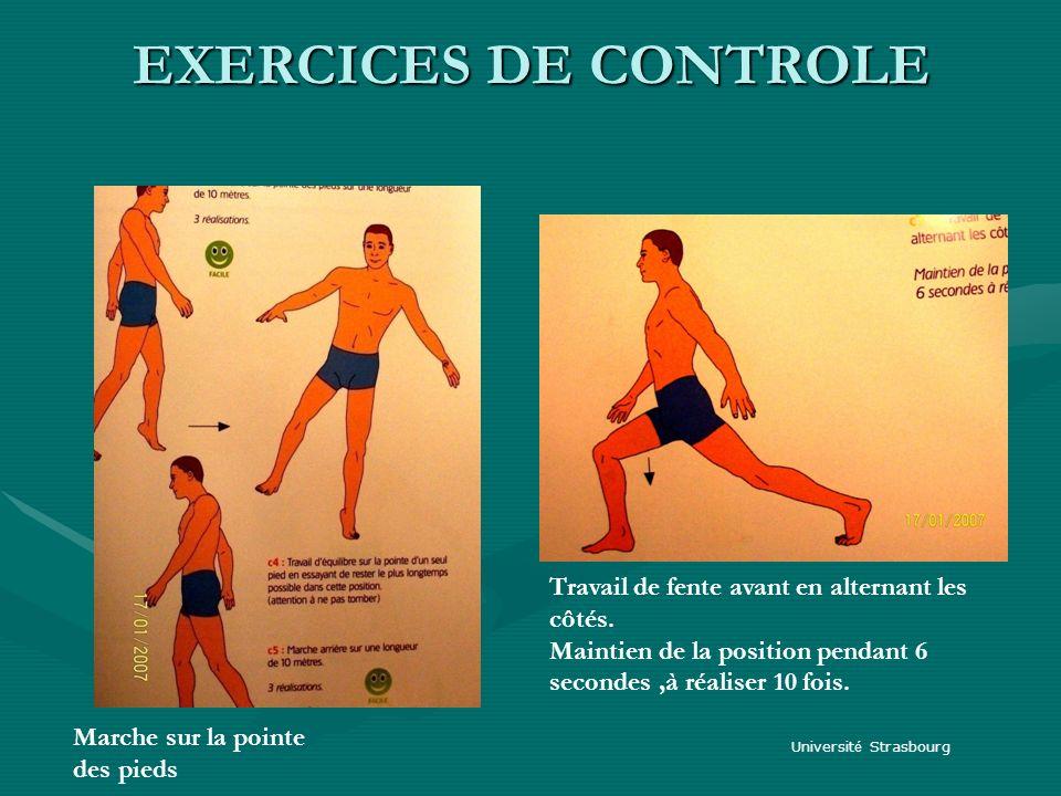 EXERCICES DE CONTROLE Travail de fente avant en alternant les côtés.