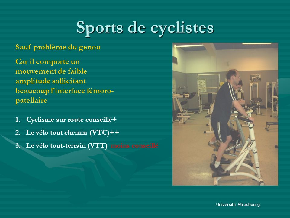Sports de cyclistes Sauf problème du genou