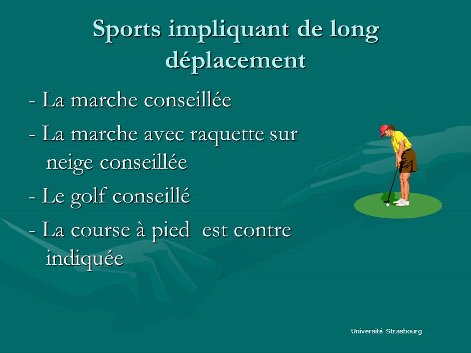 Sports impliquant de long déplacement