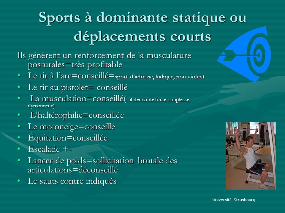 Sports à dominante statique ou déplacements courts