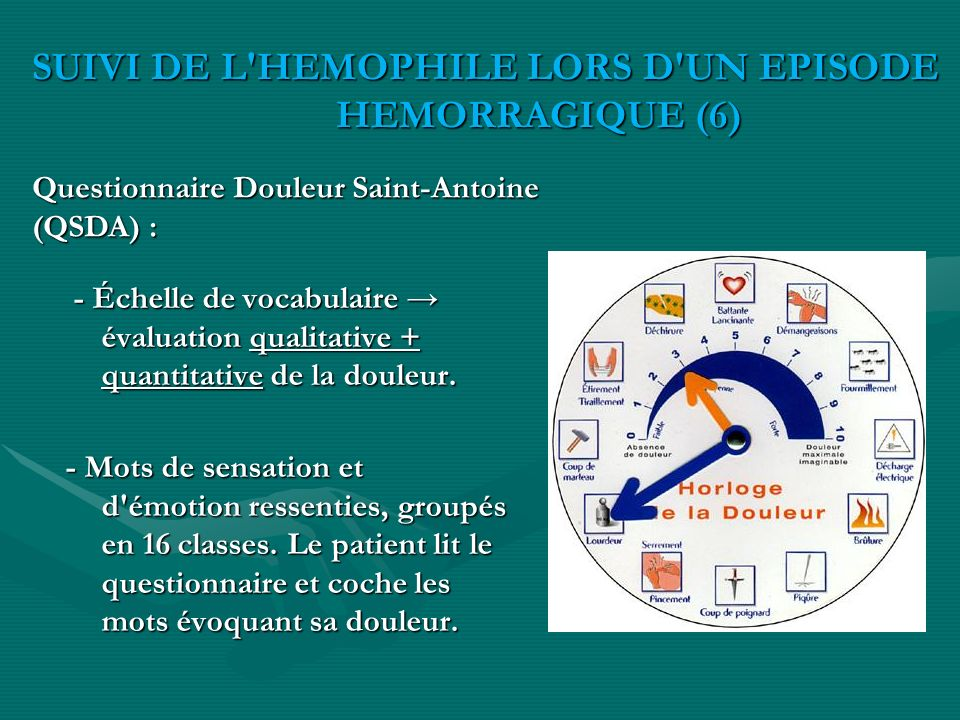 SUIVI DE L HEMOPHILE LORS D UN EPISODE HEMORRAGIQUE (6)