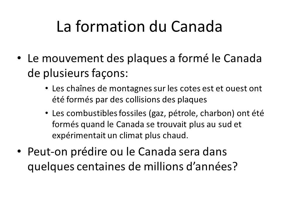 La formation du Canada Le mouvement des plaques a formé le Canada de plusieurs façons: