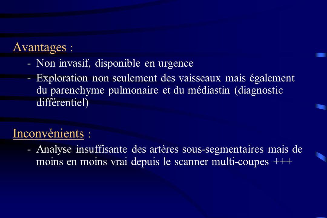 Avantages : Inconvénients : Non invasif, disponible en urgence