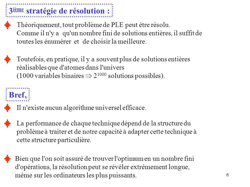 3ième stratégie de résolution :