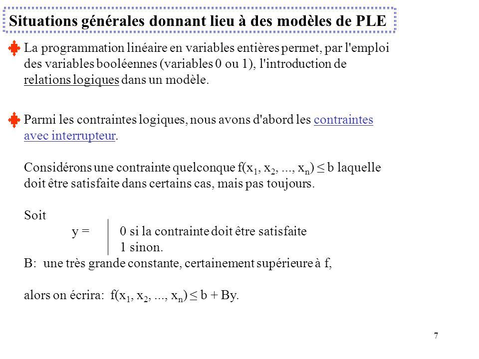 Situations générales donnant lieu à des modèles de PLE
