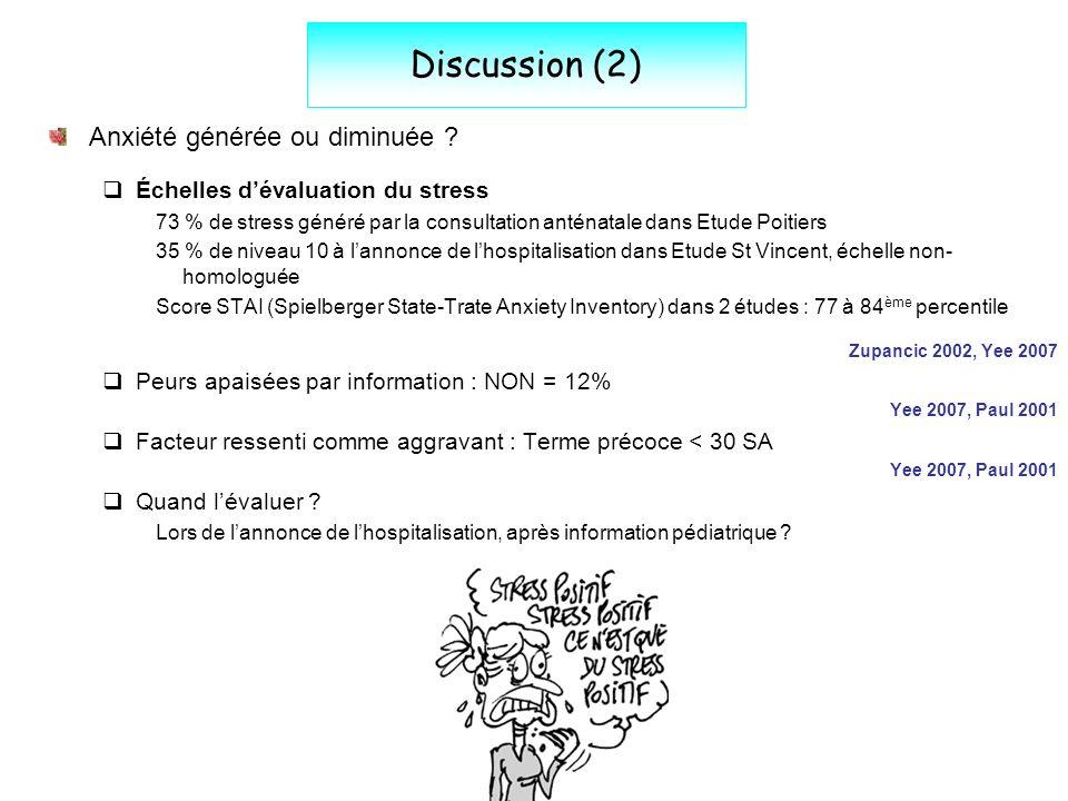 Discussion (2) Anxiété générée ou diminuée