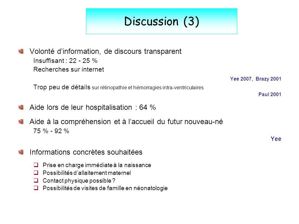 Discussion (3) Volonté d'information, de discours transparent