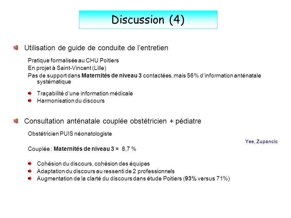 Discussion (4) Utilisation de guide de conduite de l'entretien