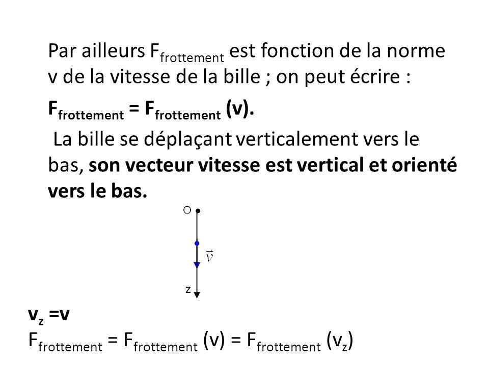Par ailleurs Ffrottement est fonction de la norme v de la vitesse de la bille ; on peut écrire : Ffrottement = Ffrottement (v). La bille se déplaçant verticalement vers le bas, son vecteur vitesse est vertical et orienté vers le bas.