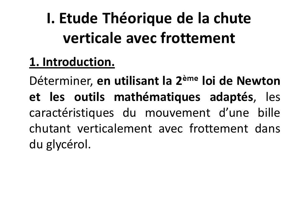 I. Etude Théorique de la chute verticale avec frottement