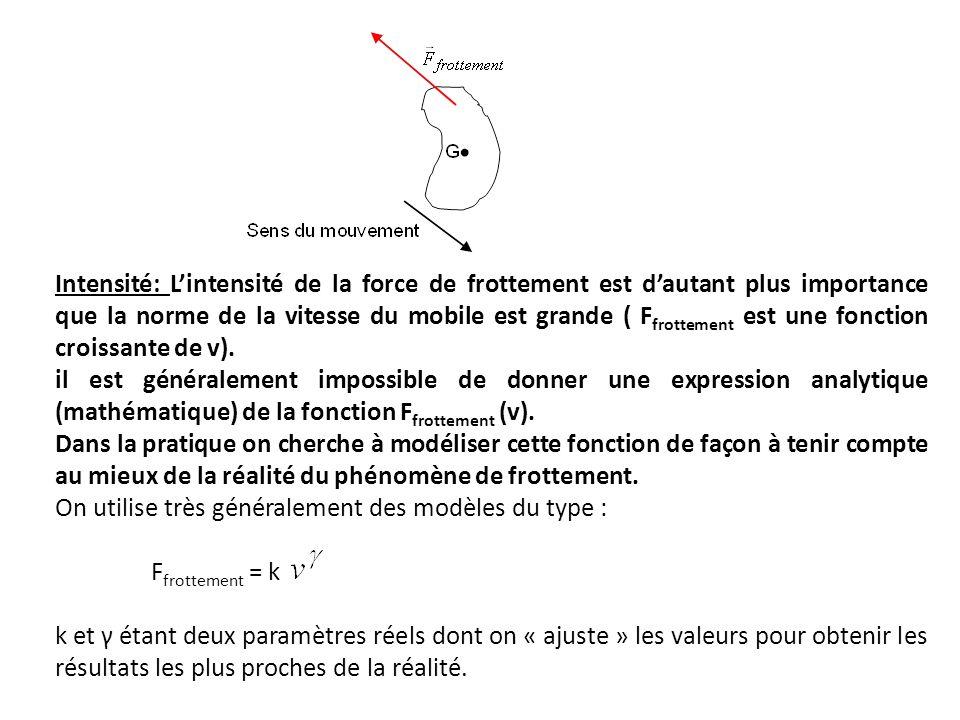 Intensité: L'intensité de la force de frottement est d'autant plus importance que la norme de la vitesse du mobile est grande ( Ffrottement est une fonction croissante de v).