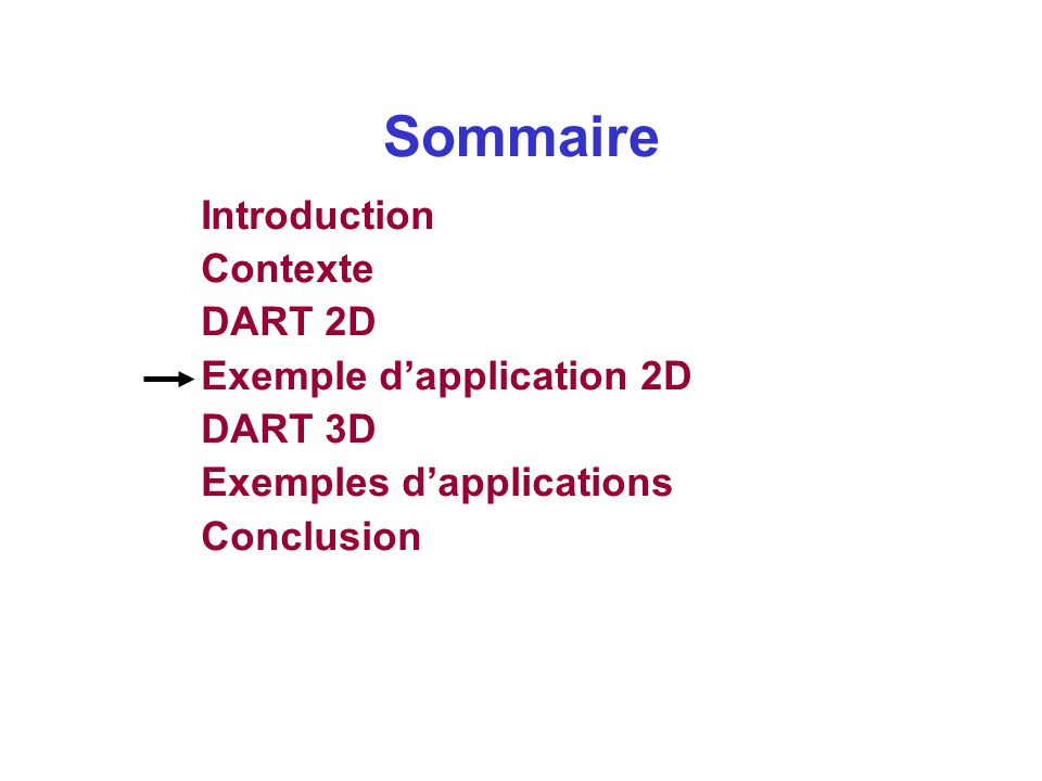 Sommaire Introduction Contexte DART 2D Exemple d'application 2D