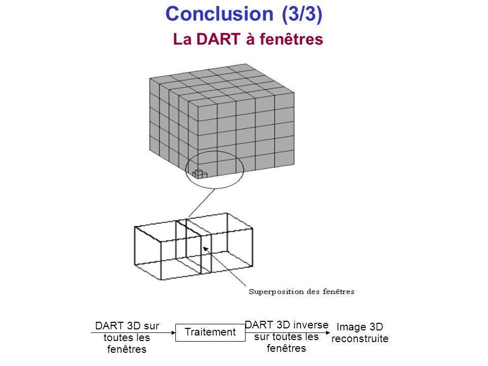 Conclusion (3/3) La DART à fenêtres DART 3D sur toutes les fenêtres