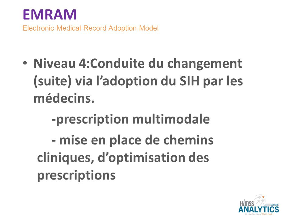 EMRAM Electronic Medical Record Adoption Model. Niveau 4:Conduite du changement (suite) via l'adoption du SIH par les médecins.