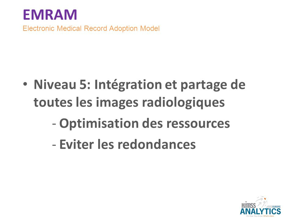 EMRAM Electronic Medical Record Adoption Model. Niveau 5: Intégration et partage de toutes les images radiologiques.