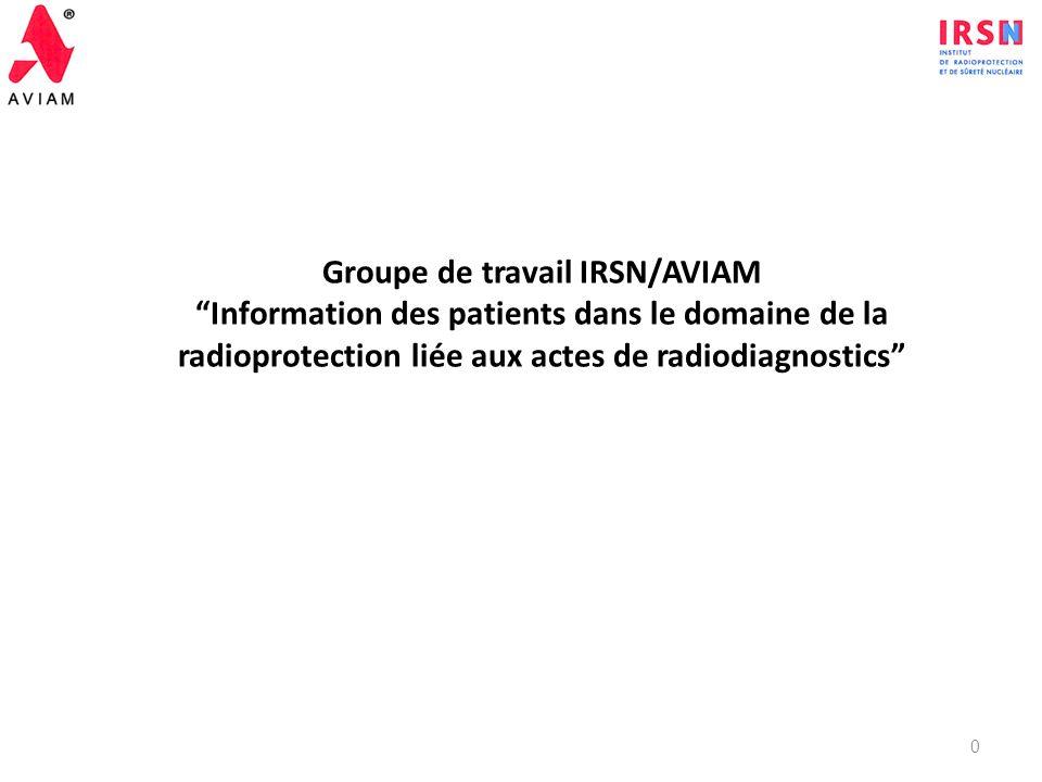 Groupe de travail IRSN/AVIAM Information des patients dans le domaine de la radioprotection liée aux actes de radiodiagnostics