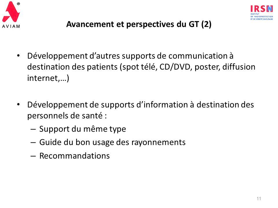 Avancement et perspectives du GT (2)