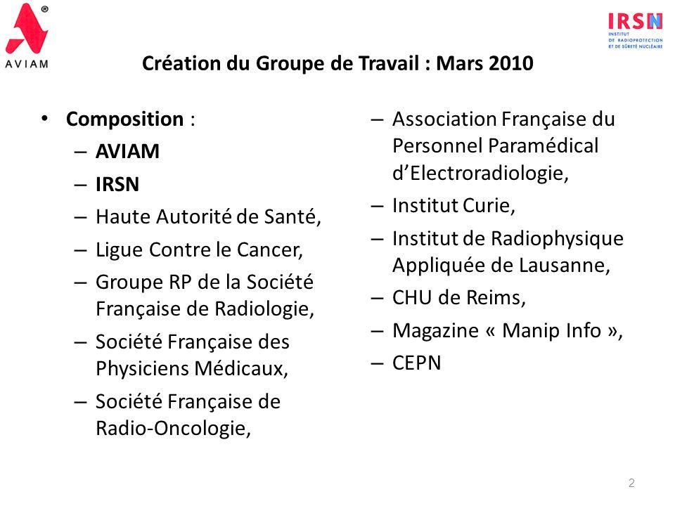 Création du Groupe de Travail : Mars 2010