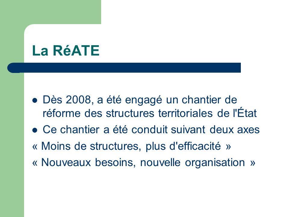 La RéATE Dès 2008, a été engagé un chantier de réforme des structures territoriales de l État. Ce chantier a été conduit suivant deux axes.