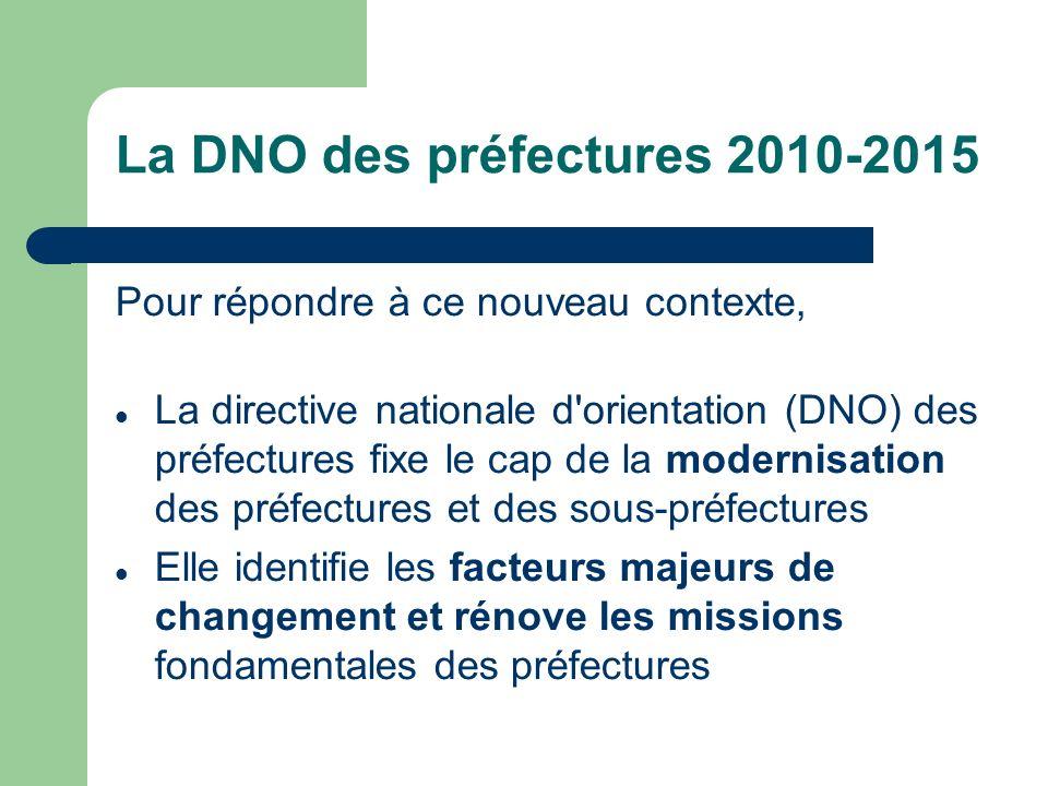 La DNO des préfectures 2010-2015