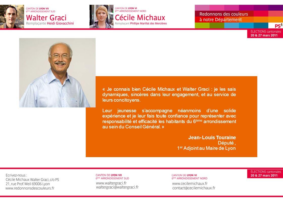 « Je connais bien Cécile Michaux et Walter Graci : je les sais dynamiques, sincères dans leur engagement, et au service de leurs concitoyens.