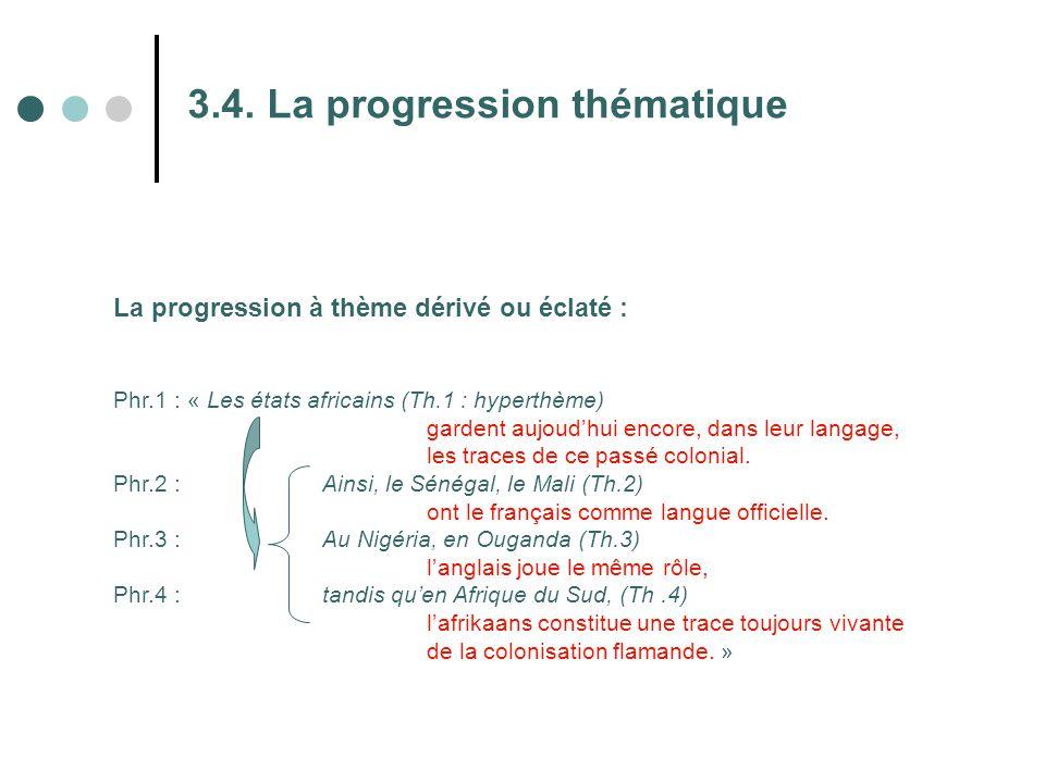 3.4. La progression thématique