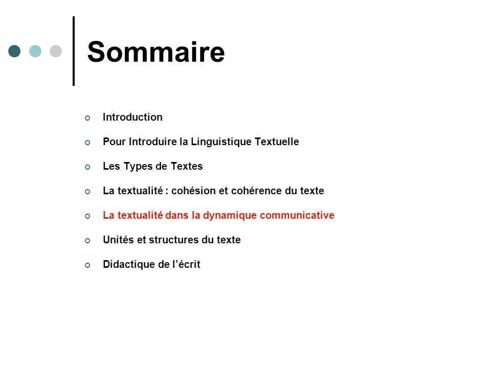 Sommaire Introduction Pour Introduire la Linguistique Textuelle