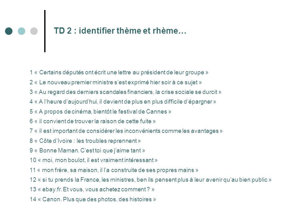 TD 2 : identifier thème et rhème…