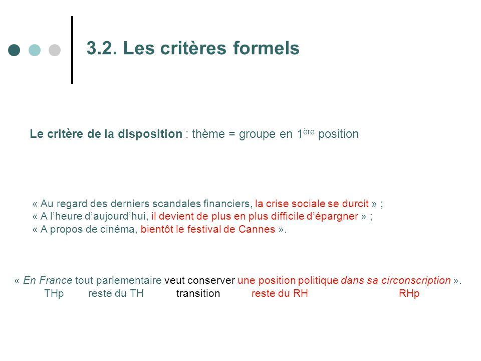 3.2. Les critères formels Le critère de la disposition : thème = groupe en 1ère position.