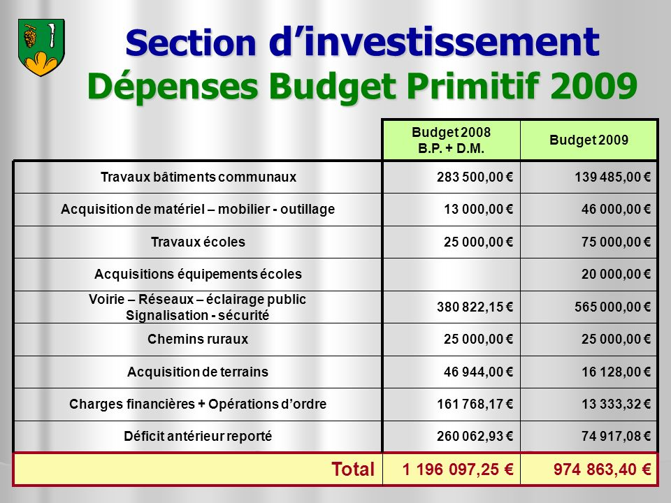 Section d'investissement Dépenses Budget Primitif 2009