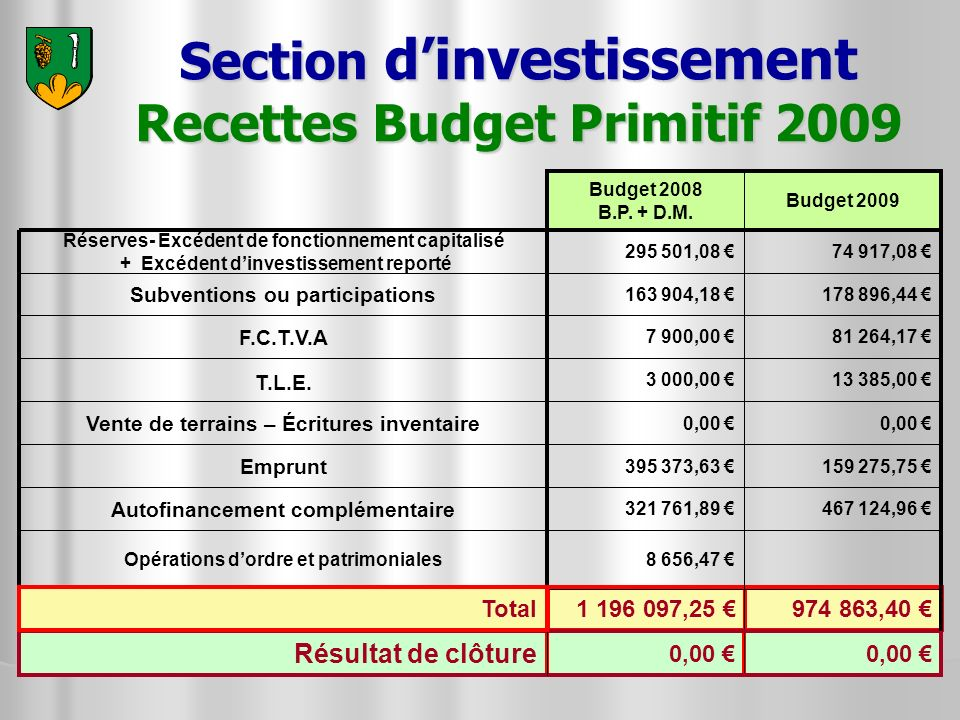 Section d'investissement Recettes Budget Primitif 2009