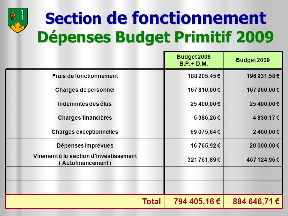 Section de fonctionnement Dépenses Budget Primitif 2009