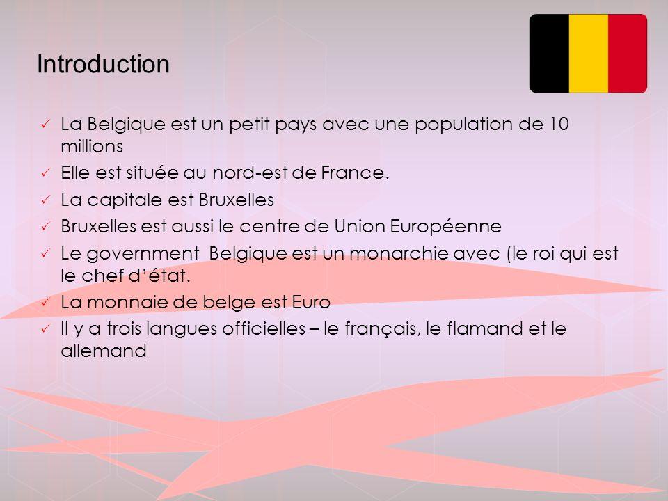 Introduction La Belgique est un petit pays avec une population de 10 millions. Elle est située au nord-est de France.