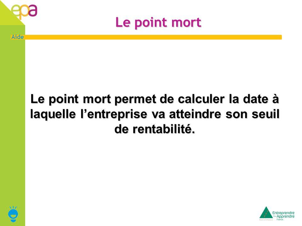 Le point mort Le point mort permet de calculer la date à laquelle l'entreprise va atteindre son seuil de rentabilité.