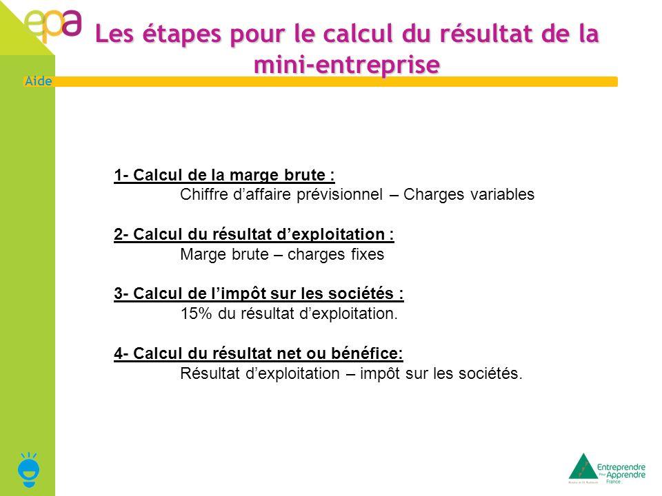 Les étapes pour le calcul du résultat de la mini-entreprise