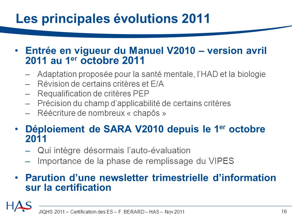 Les principales évolutions 2011