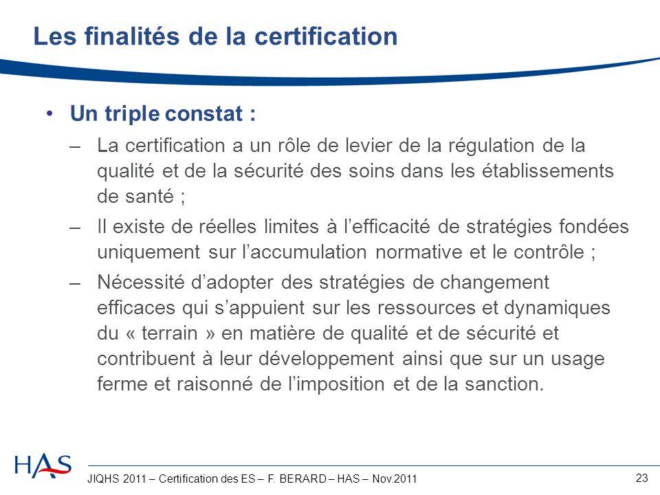 Les finalités de la certification