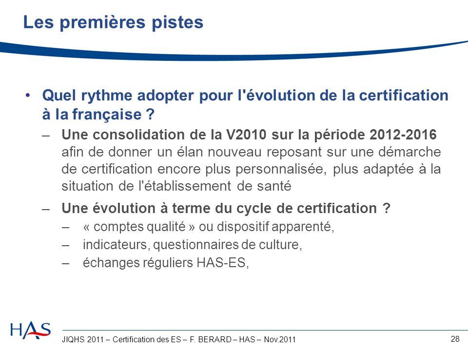Les premières pistes Quel rythme adopter pour l évolution de la certification à la française