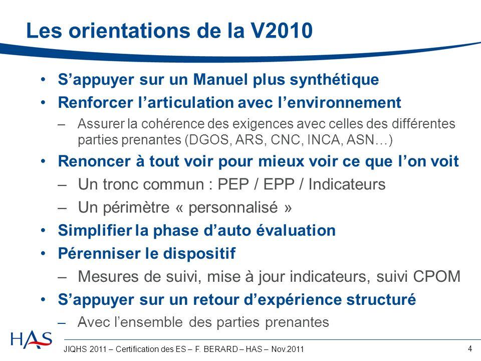 Les orientations de la V2010