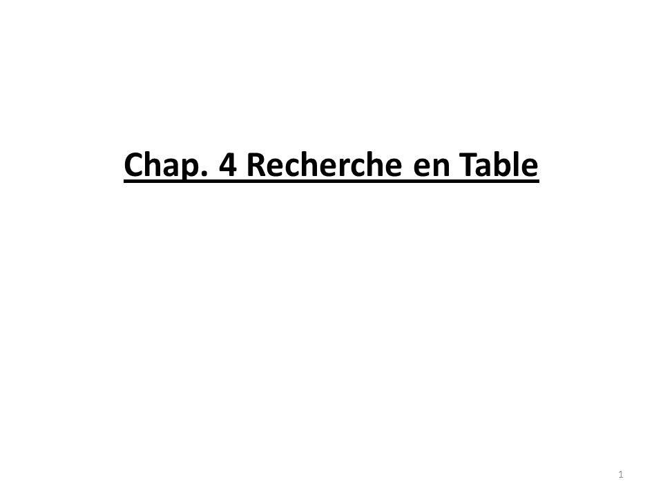 Chap. 4 Recherche en Table