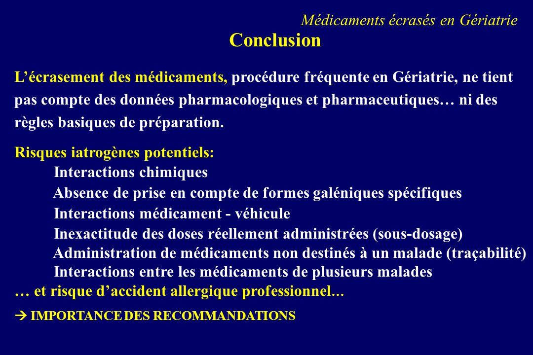 Conclusion Médicaments écrasés en Gériatrie