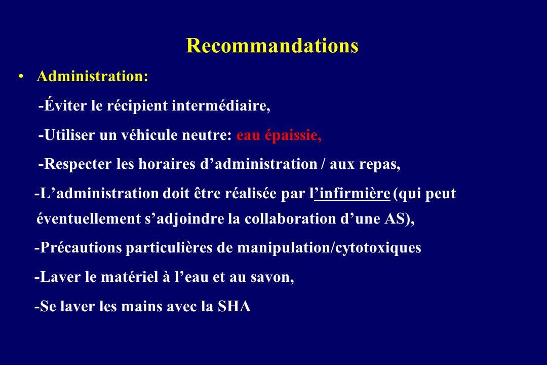 Recommandations Administration: -Éviter le récipient intermédiaire,