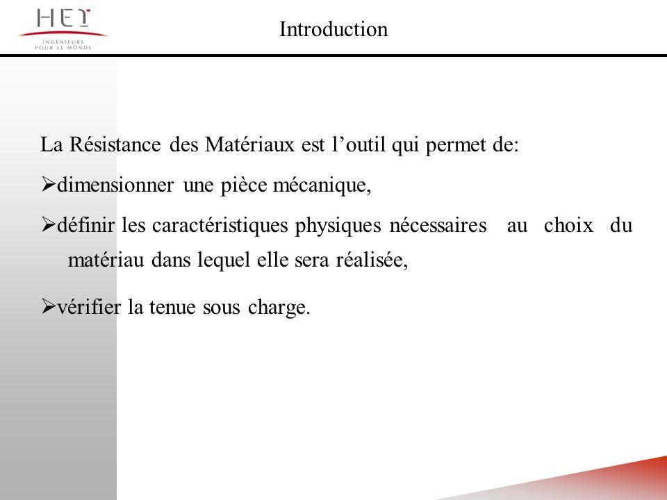 Introduction La Résistance des Matériaux est l'outil qui permet de: dimensionner une pièce mécanique,