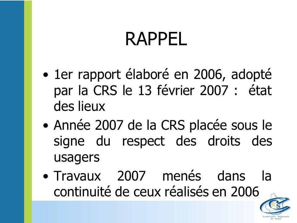 RAPPEL 1er rapport élaboré en 2006, adopté par la CRS le 13 février 2007 : état des lieux.